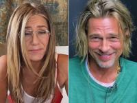 Brad Pitt și Jenifer Anniston, în timpul unui interviu online, din 2020