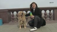 """Un câine a """"furat"""" microfonul unei jurnaliste TV din Rusia; Captura foto YouTube"""
