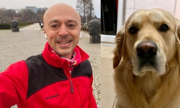 Andrei Roșu și cainele sau, colaj foto Facebook